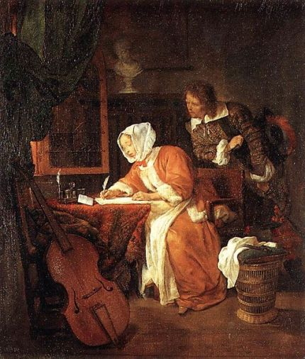 Gabriël_Metsu_-_The_Letter-Writer_Surprised_-_WGA15095